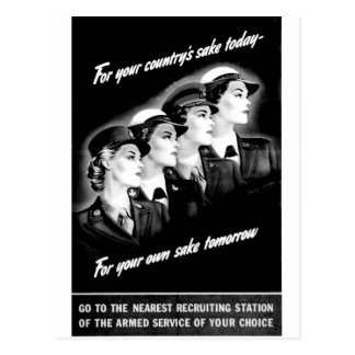Ladies Go to The Nearest Recruiting Station Postcard