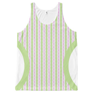 Ladies Green Peach And White Stripes Tank Top All-Over Print Tank Top