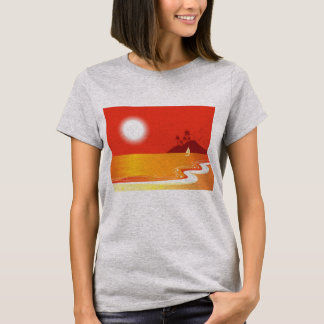 Ladies grey t-shirt with Exotic island