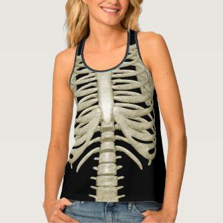 Ladies Halloween Party Costume Skeleton Ribs Tank Top