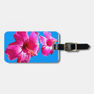 Ladies Hibiscus on Blue Luggage Tag