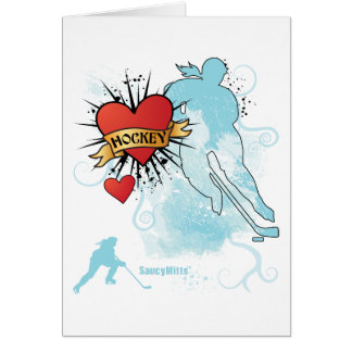 Ladies Hockey Heart Tattoo Card