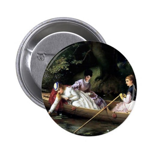 Ladies in a Boat painting Button