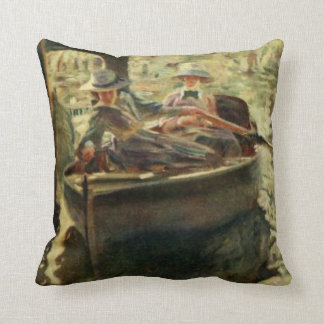 Ladies In A Rowboat Vintage Artwork Cushion