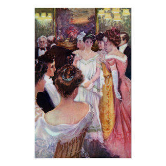 Ladies in Gowns at Dinner Party Posters