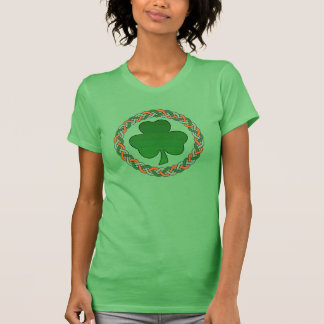 Ladies irish celtic shamrock holiday green tee