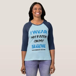 ladies' light blue I wear my faith on my sleeve T-Shirt