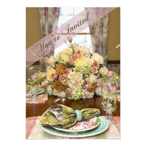 Ladies Luncheon Invitation (Floral Table Setting) Custom Announcement