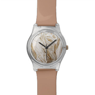 Ladies Marble Look Abstract Earth Tones Watch