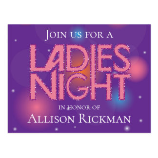 Ladies night glamorous design postcard