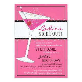 Ladies Night Out Martini Pink Birthday Celebration 13 Cm X 18 Cm Invitation Card