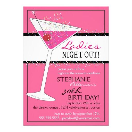 Ladies Night Out Martini Pink Birthday Celebration Custom Announcement