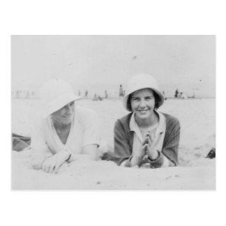 Ladies On Beach Old Black & White Image Postcard