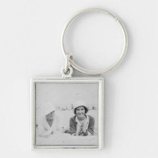 Ladies On Beach - Premium Small Square Keychain