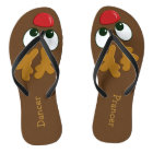 Ladies Personalised Christmas Reindeer Flip Flops