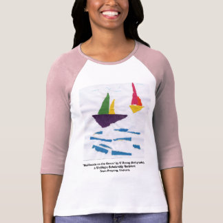 "LADIES PINK & BLUE BASEBALL T-SHIRT ""Sailboats"""