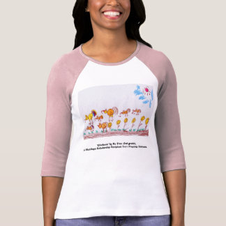 "LADIES PINK & RED BASEBALL T-SHIRT ""Chickens"""