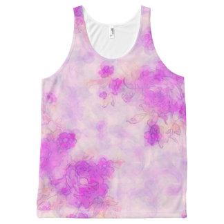 Ladies Pretty Floral Print Pink Tank top Vest All-Over Print Tank Top