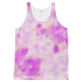 Ladies Pretty Floral Print Pink Tank top Vest All-Over Print Tank Top