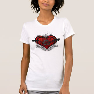 Ladies Recycled Heart V Neck T-Shirt