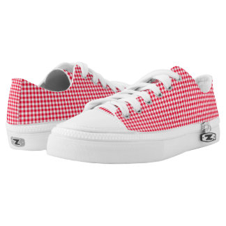 Ladies Red Gingham Zipz Low Top Shoes