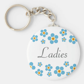 Ladies room Forget me nots floral border keychain