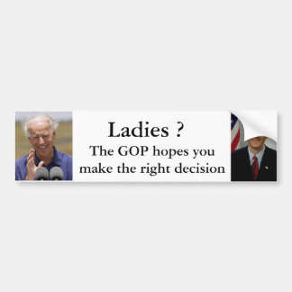 Ladies ? Ryan or Biden Bumper Sticker