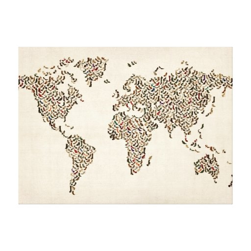Ladies Shoes Map of the World Map Stretched Canvas Print