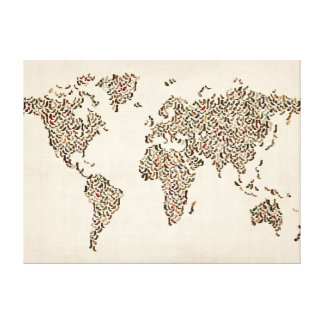 Ladies Shoes Map of the World Map Stretched Canvas Prints