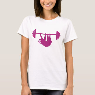 Ladies sloth gym tee (Pink)