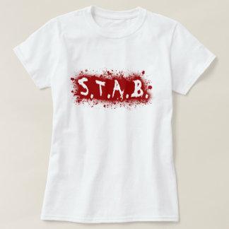 Ladies STAB Splatter Babydoll - White T-Shirt