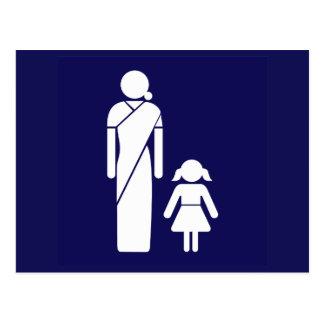 Ladies' Toilet Sign, India Postcard