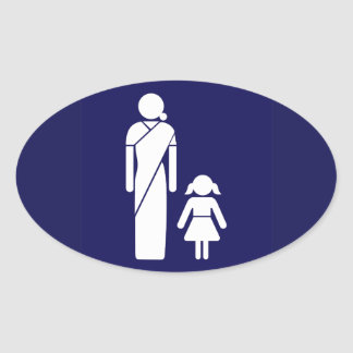 Ladies' Toilet Sign, India Oval Sticker