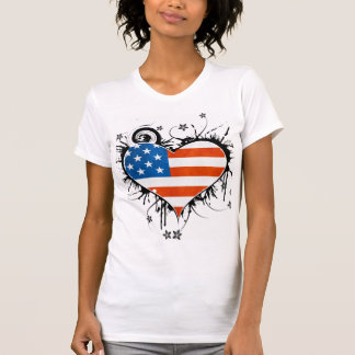 Ladies USA Flag Grungy Floral Heart Frame T-Shirt
