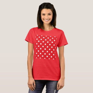 LADIES VINTAGE TSHIRT RED WITH  Dots