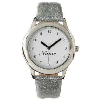 Ladies watch with silver glitter strap