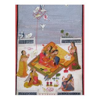 Ladies Watching Pigeons, 1770 Postcard