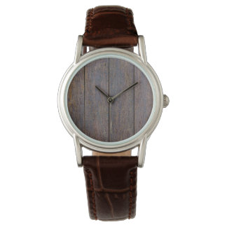 Ladies Weathered Wood Brown Leather Watch