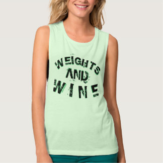 Ladies Weights & Wine Muscle Workout Top Green