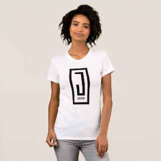 ladies white crew neck w/ white j wear design logo T-Shirt