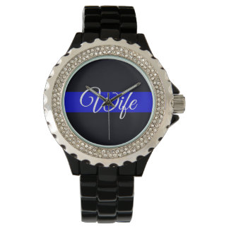 Ladies Wife Thin Blue Line Rhinestone Watch