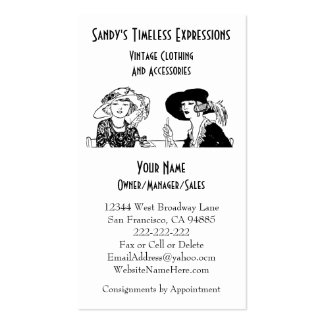 Ladies with Hats Vintage Fashion Custom Clothing Pack Of Standard Business Cards