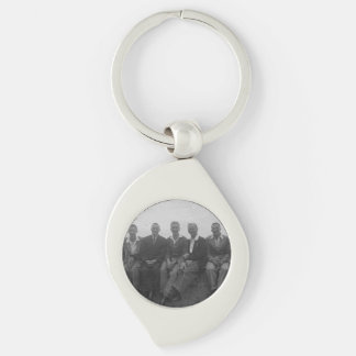 Lads Day Out Black White Swirl Metal Keychain Silver-Colored Swirl Key Ring