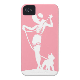 Lady and Dog Silhouette Portrait iPhone 4 Case