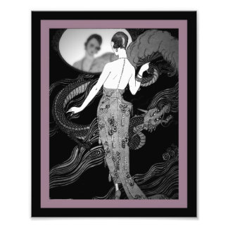 Lady and Dragon Art Deco Print Photographic Print