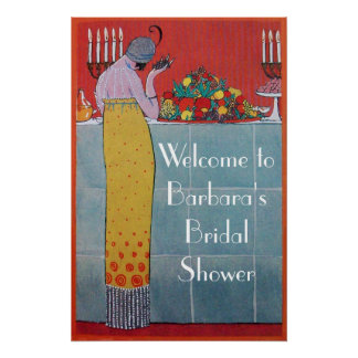 LADY AND FRUITS TABLE SET ART DECO WEDDING SHOWER POSTER