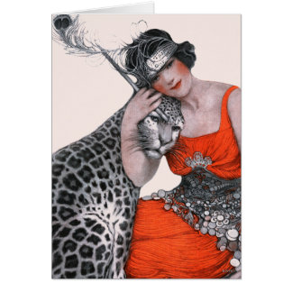 Lady and Leopard Card