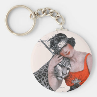 Lady and Leopard Key Ring