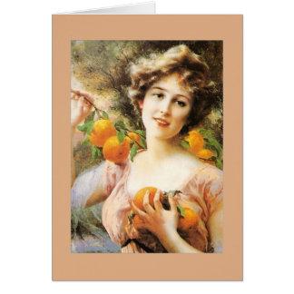 Lady and Orange Tree, Card