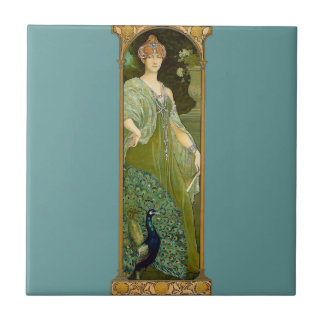 Lady and Peacock Small Square Tile